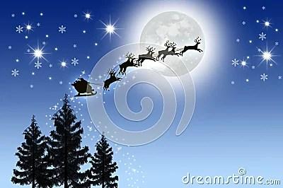 Peacock 3d Wallpaper Download Santa S Sleigh In Night Sky Stock Photo Image 17524840