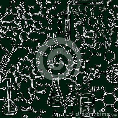 Science Old Chemistry Laboratory Seamless Pattern Vintage