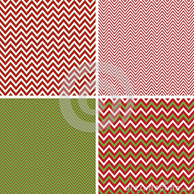 Seamless Christmas Chevron Patterns In Green And Red Stock