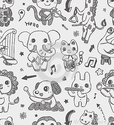 Seamless Doodle Animal Music Band Pattern Backgrou Royalty