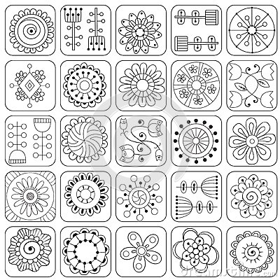 Seamless Doodle Flowers Leaves Hearts Pattern Stock