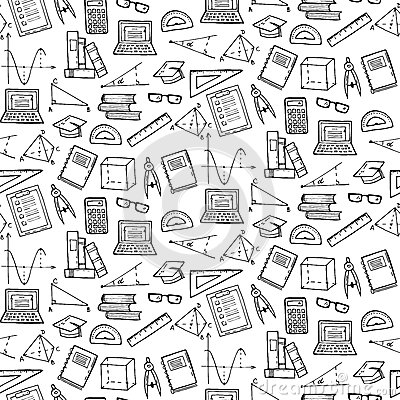 Seamless Pattern With Math And Geometry Elements Stock