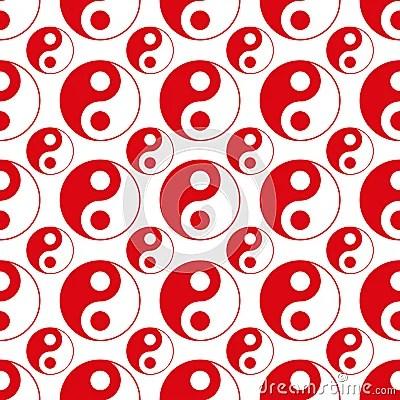 Seamless of red yin yang vector