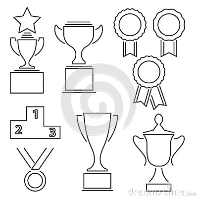 Set Of Award Success And Victory Line Icons Stock Vector
