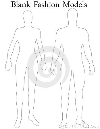 Set Of Blank Male And Female Fashion Models Stock Photo