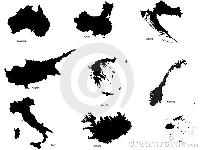 Set Of Different Countrys And Continent Shapes Royalty