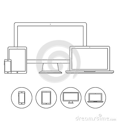 Set Of Electronic Device Outline Icons Stock Vector