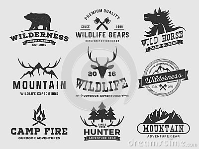 Set Of Outdoor Wilderness Adventure And Mountain Badge