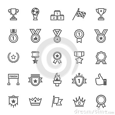 Set Of Outline Stroke Award And Trophy Icon Stock Vector