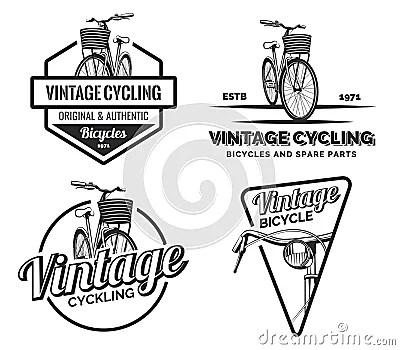 Set Of Vintage Road Bicycle Labels, Emblems, Badges Or