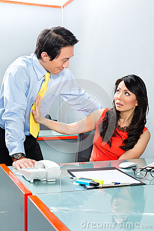 Sexual Harassment By Boss In Asian Office Royalty Free Stock Images  Image 35911739