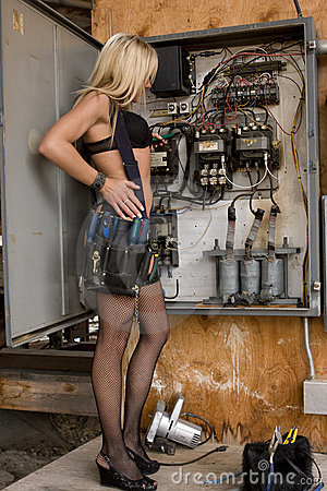 Sexy Electrician Woman Stock Images Image 5318304
