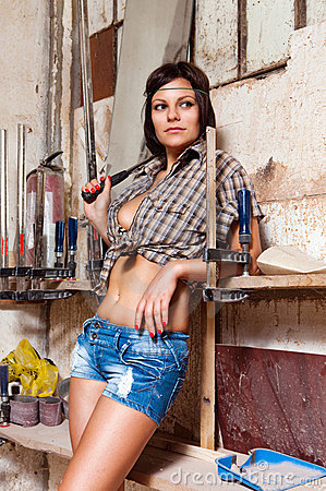 Sexy Girl In The Carpentry Shop Carpenters Royalty Free Stock Images  Image 20336349