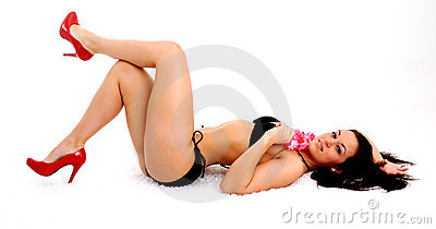 Girl Vector Wallpaper Sexy Girl In Red Heels And Bikini Stock Images Image