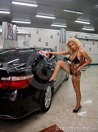 Sexy Woman Cleaning Car Royalty Free Stock Photos  Image 19896228