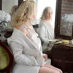 Design Chair For You Yoga Breathing Exercises Sexy Woman Looking In A Vanity Mirror. Stock Photo - Image: 55855606