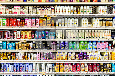 Shampoo Bottles For Sale On Supermarket Stand Editorial