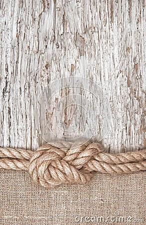 Ship Rope Burlap And Wood Background Stock Photo Image
