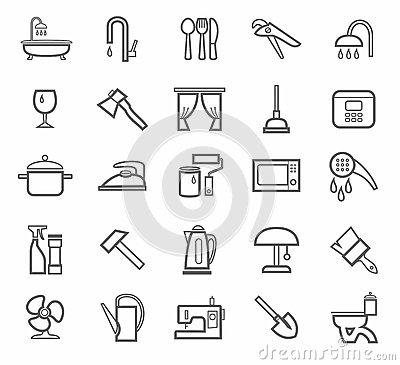 Signs, Household Goods, Appliances, Dishes, Tools, Grey