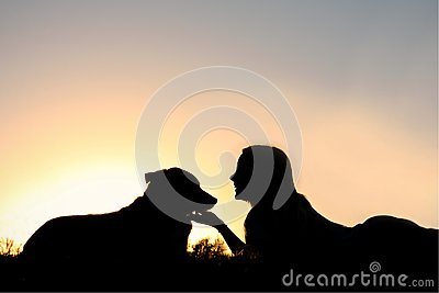 Silhouette Of Girl Laying In The Grass With Her Do Stock