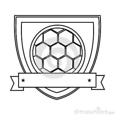 Silhouette Shield With Ribbon With Soccer Ball Stock