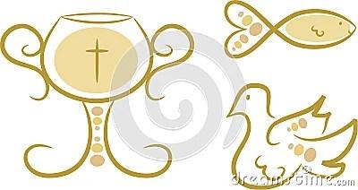 Simboli Religiosi Insieme I Fotografia Stock Libera da