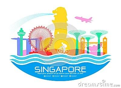 Singapore Travel Landmarks Stock Vector Image 57370937