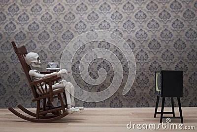 Skeleton  Watching Tv Stock Photo  Image 48798052
