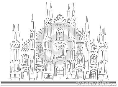 Sketch Of The Cathedral Of Milan Isolated Stock Vector