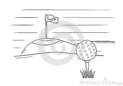 Sketch Of The Golf Ball And Flag Royalty Free Stock Images