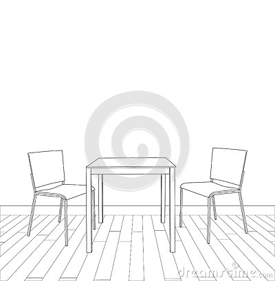 Sketch Of Modern Interior Table And Chairs Vector Stock