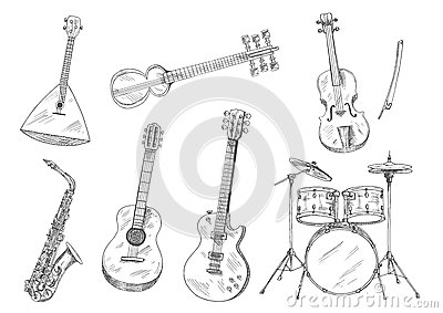 Sketchy Musical Instruments For Arts Design Stock Vector