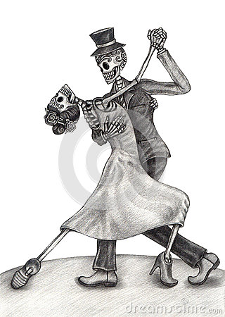 Skull Art Wedding Day Of The Dead Stock Illustration
