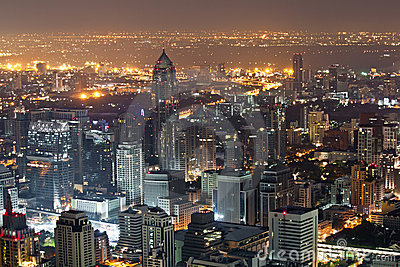 Skyscraper Bangkok Downtown Top View At Night Editorial
