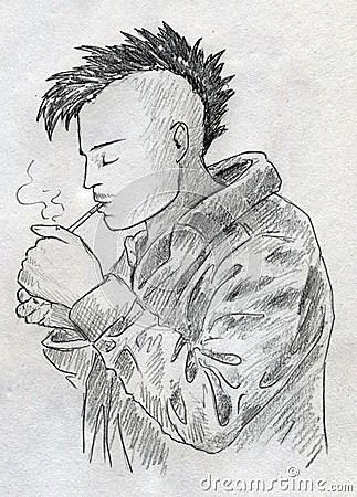 Smoking Punk Sketch Royalty Free Stock Image Image 27783116