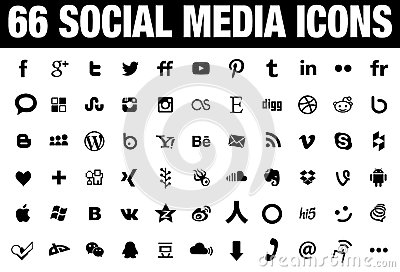 66 simple flat social media icons