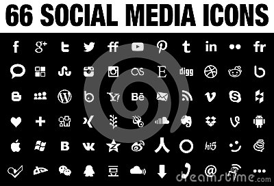 66 simple white social media icons with transparent background
