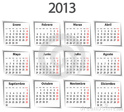 Spanish Calendar For 2013 With Shadows Royalty Free Stock