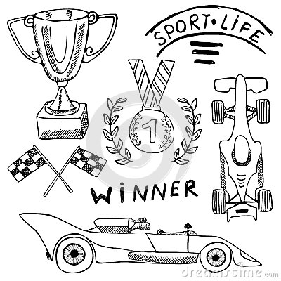 Sport Auto Items Doodles Elements. Hand Drawn Set With