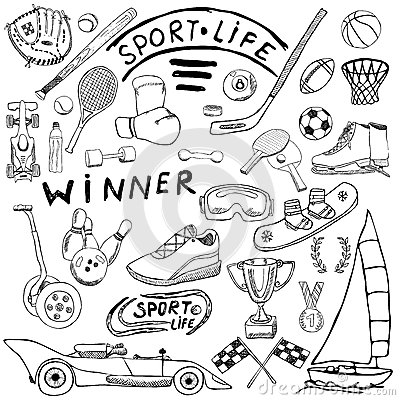 Sport Life Sketch Doodles Elements. Hand Drawn Set With