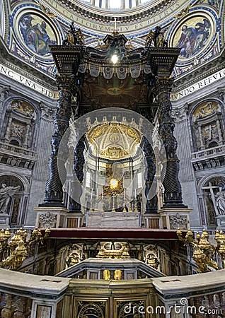 St Peters Baldachin Vatican Rome Royalty Free Stock