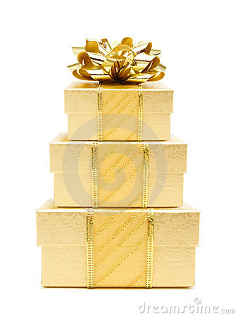Stack Of Gold Christmas Gifts Royalty Free Stock Photo