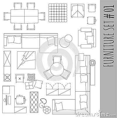 Standard Furniture Symbols Used In Architecture. Stock