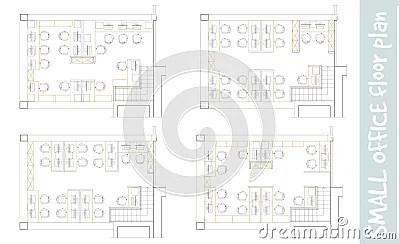 Standard Office Furniture Symbols On Floor Plans Stock