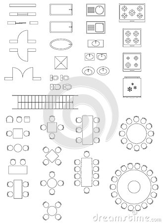 Standard Symbols Used In Architecture Plans Stock Images