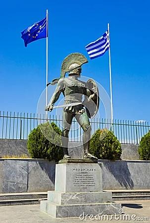 Statue Of King Leonidas In Sparta Greece Stock Photos