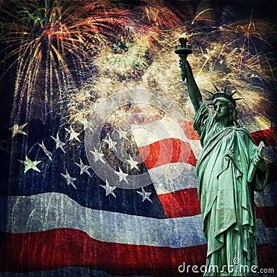 God Animation Wallpaper Statue Of Liberty Amp Fireworks Stock Photos Image 34783723
