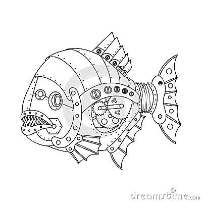 Steampunk Style Piranha Fish Coloring Book Vector Cartoon