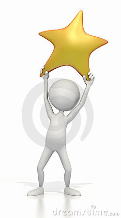 Stick Figure Holding Up Gold Star Stock Image Image 9274101