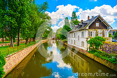 Strasbourg Water Canal In Petite France Area Unesco Site